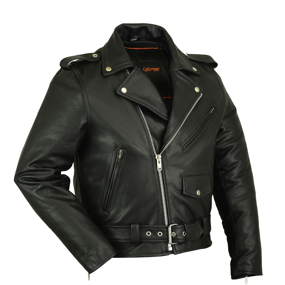 New Mens Classic Police Style Genuine Leather Motorcycle