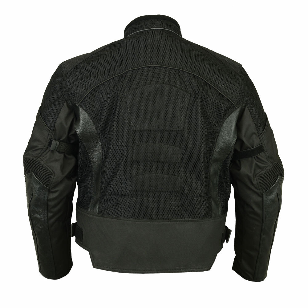 Leather and mesh motorcycle jacket