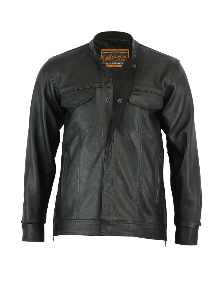 7742bdda6 DS788 Men's Full Cut Leather Shirt with Zipper/Snap Front | Men's ...