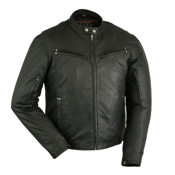Wholesale Men's Motorcycle Jackets | DS742 Men's Lightweight Drum Dyed Naked Lambskin