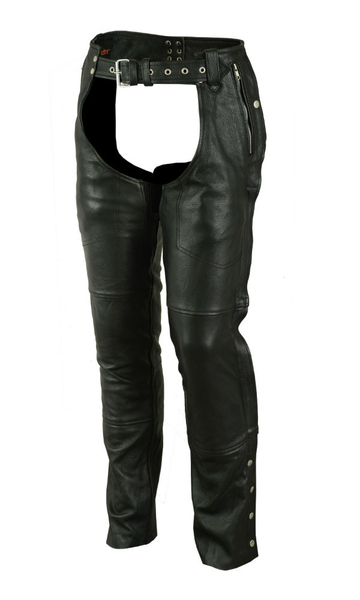 Wholesale Leather Motorcycle Chaps | DS476 Unisex Double Deep Pocket Insulated Chaps