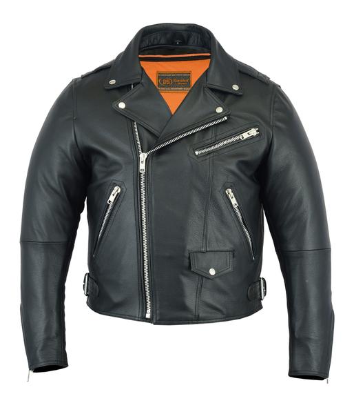 DS737 Men's Modern Full Cut Beltless Biker Jacket   Men's Jackets