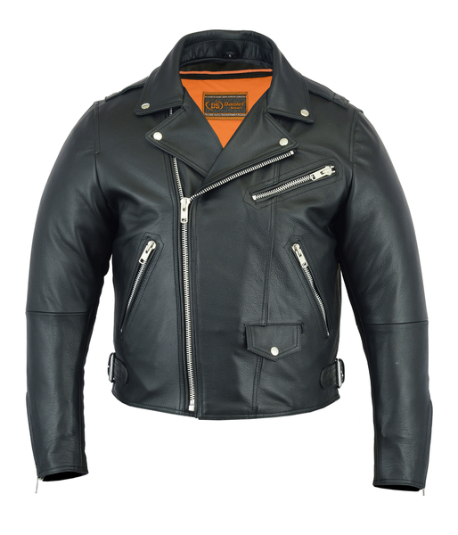DS737 Men's Modern Full Cut Beltless Biker Jacket | Men's Leather Jackets
