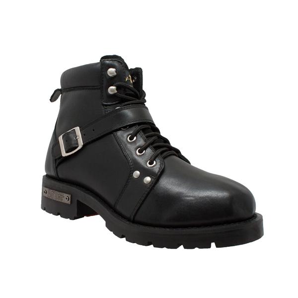 9143 Men's YKK Zipper Biker Boot-Black   Men's Boots