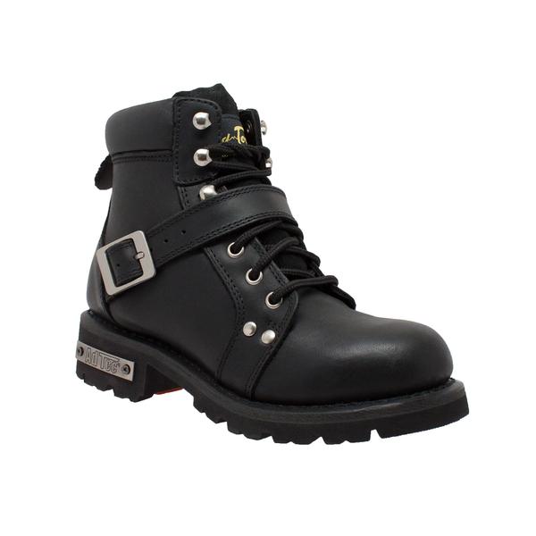 8143 Women's YKK Zipper Black Biker Boot | Women's Boots