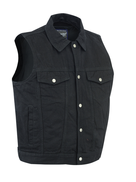 DM970BK Snap Front Denim Vest- Black | Men's Denim Vests