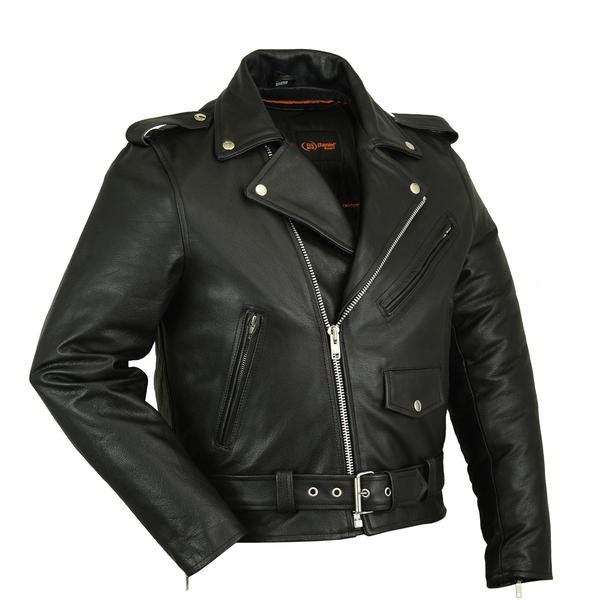 DS732 Men's Premium Classic Plain Side Police Style Jacket | Men's Leather Jackets