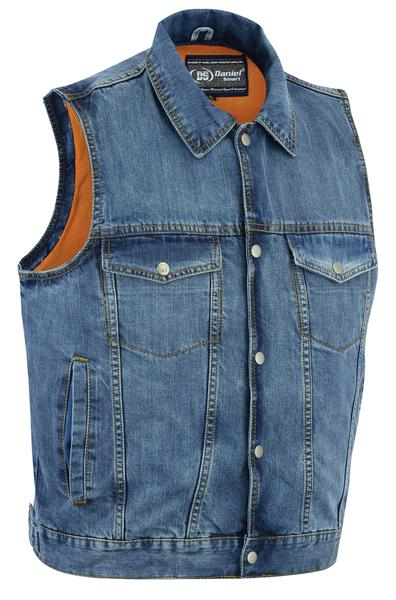 DM979BU Snap/Zipper Front Denim Vest- Blue   Men's Denim Vests