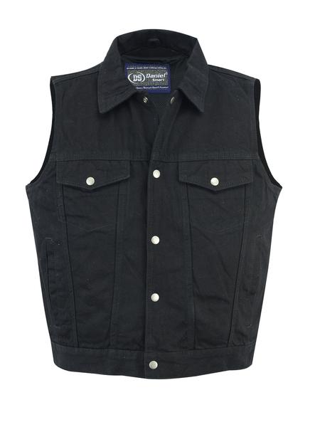 DM979BK Snap/Zipper Front Denim Vest- Black | Men's Denim Vests
