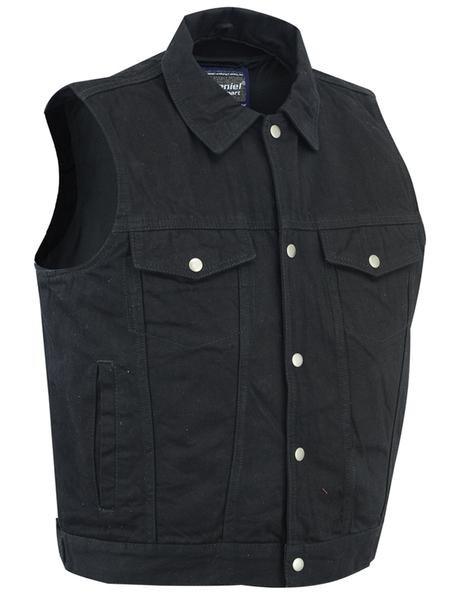 DM979BK Snap/Zipper Front Denim Vest- Black   Men's Denim Vests