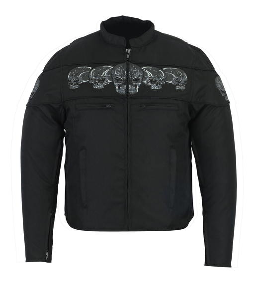 DS600 Men's Textile Scooter Style Jacket w/ Reflective Skulls | Men's Jackets