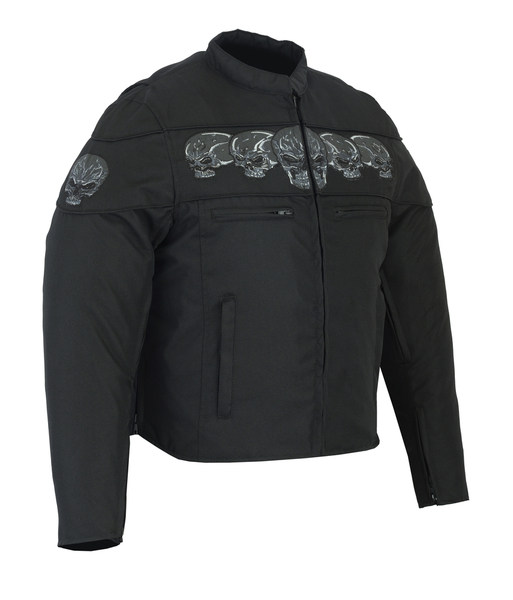 DS600 Men's Textile Scooter Style Jacket w/ Reflective Skulls | Men's Textile Jackets