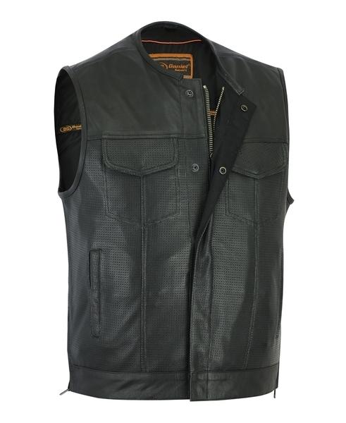 DS183 Men's Premium Perforated Single Back Panel Concealment Vest W/O Collar | Men's Leather Vests