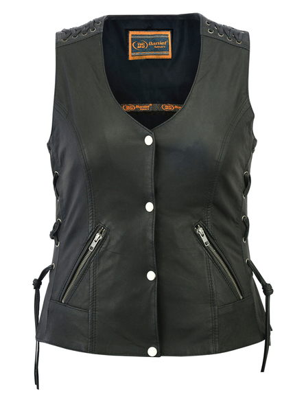 DS285 Women's Vest with Grommet and Lacing Accents | Women's Leather Vests