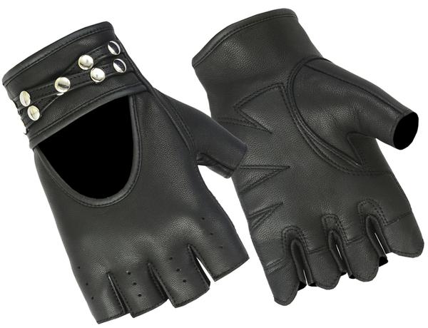 DS85 Women's Fingerless Glove with Rivets Detailing   Women's Fingerless Gloves