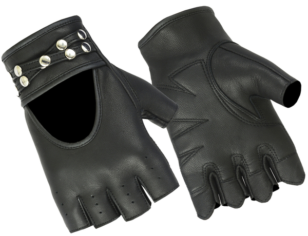 DS85 Women's Fingerless Glove with Rivets Detailing | Women's Fingerless Gloves