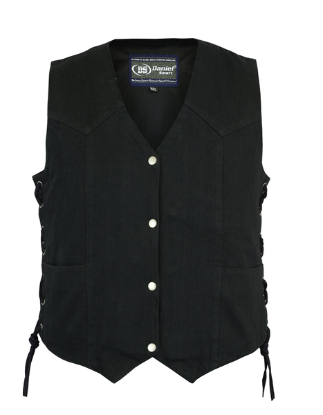 DM952 Women's Denim Classic Side Lace Vest | Women's Denim Vests
