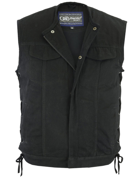 Wholesale Men's Leather Vests | DS105V Men's Single Back Panel Vest (Brown) | Daniel Smart Manufacturing