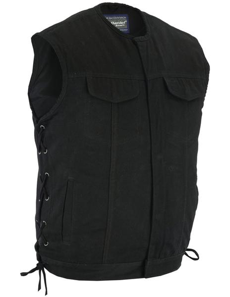 Wholesale Men's Leather Vests   DS105V Men's Single Back Panel Vest (Brown)   Daniel Smart Manufacturing