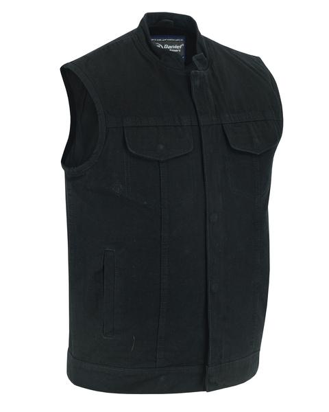 DM989BK Concealed Snap Closure, Denim Material, Scoop Collar & Hidden Zipper cop | Men's Denim Vests
