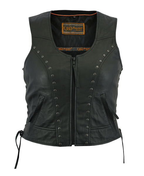 DS241 Women's Lightweight Vest with Rivets Detailing | Women's Leather Vests