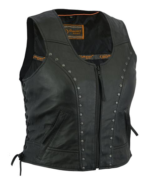 DS241 Women's Lightweight Vest with Rivets Detailing | Women's Leather Vests