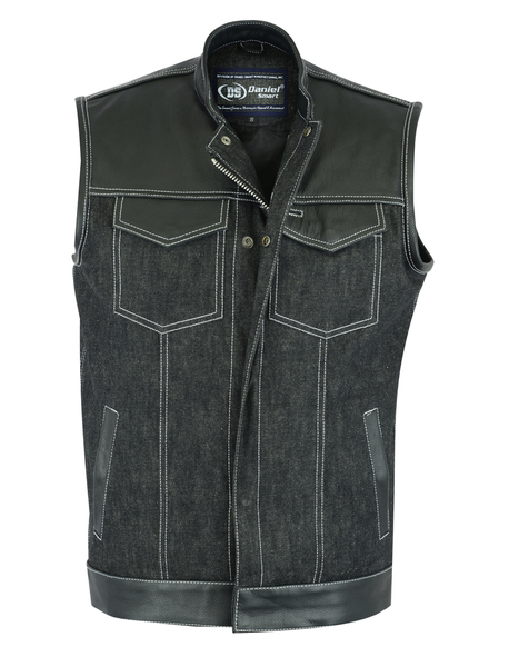 DM900 Men's Leather/Denim Combo Vest | Men's Denim Vests