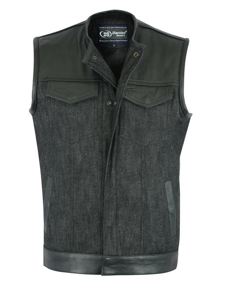 DM901   Men's Leather/Denim Combo Vest Without Collar   Men's Denim Vests