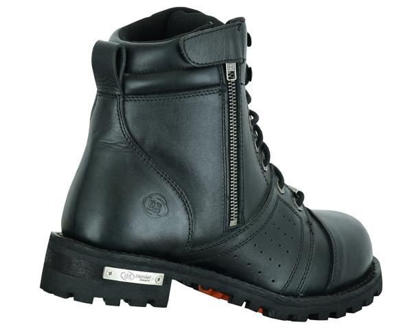 DS9731 Men's 6'' Side Zipper Plain Toe Boot W/Perforation | Men's Footwear