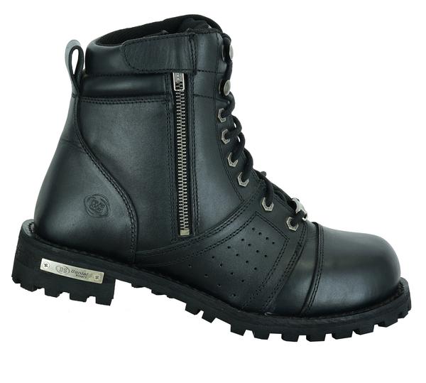 DS9731 Men's 6'' Side Zipper Plain Toe Boot W/Perforation   Men's Footwear