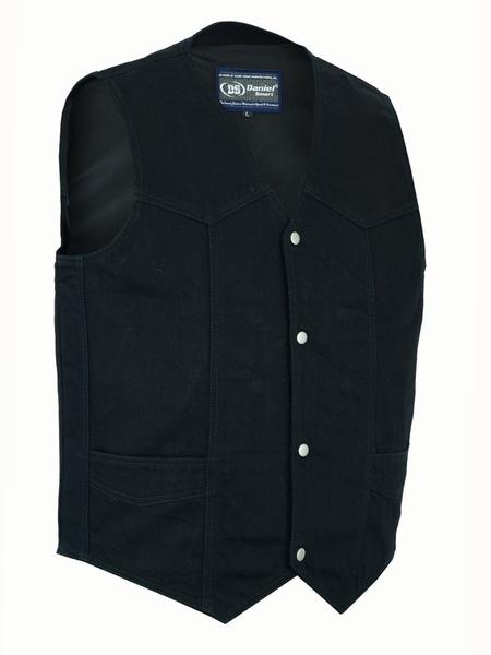 DM910 Men's Traditional Denim Vest with Plain Sides | Men's Denim Vests
