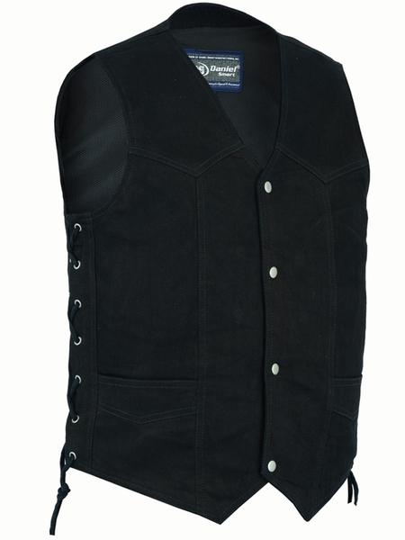 DM911 Men's Traditional Denim Vest with Side Laces | Men's Denim Vests