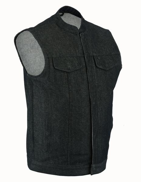 DM977 Men's Rough Rub-Off Raw Finish Denim Vest | Men's Denim Vests
