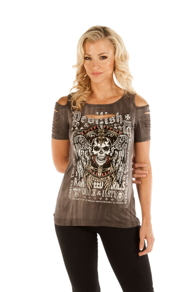 7725GRY-MW Devilish Skull Cold Shoulder | Women's Shirts