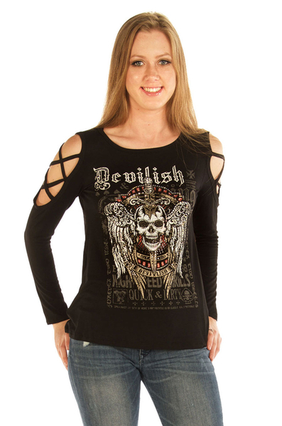 7697BLK Devilish Raven | Women's Shirts