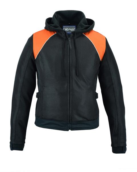 DS827 Women's Mesh 3-in-1 Riding Jacket (Black/Orange) | Women's Textile Jackets