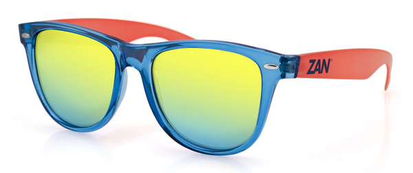 EZMT05 Minty Blue and Orange Frame, Smoked Yellow Mirrored Lens | Sunglasses