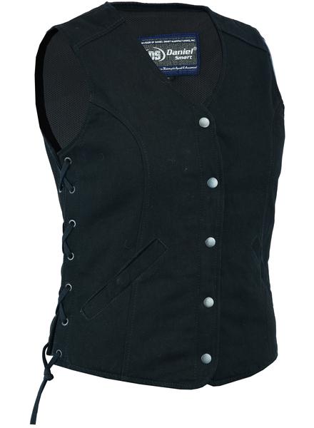 DM908  Women's Denim Longer Body ¾ Vest – Side Laces   Women's Denim Vests