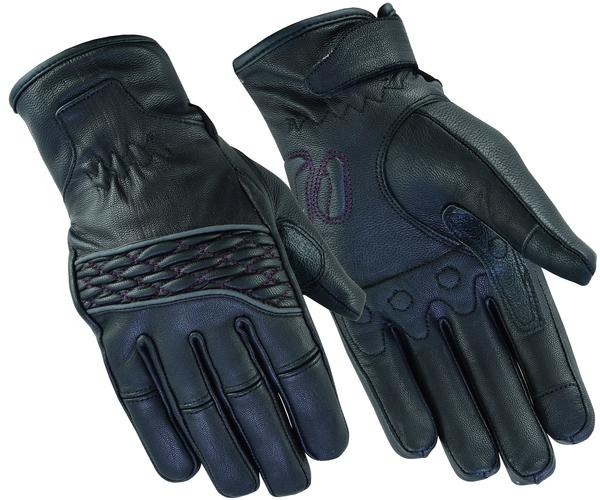 Wholesale Leather Gloves   DS2425 Women's Cruiser Glove (Black / Purple)