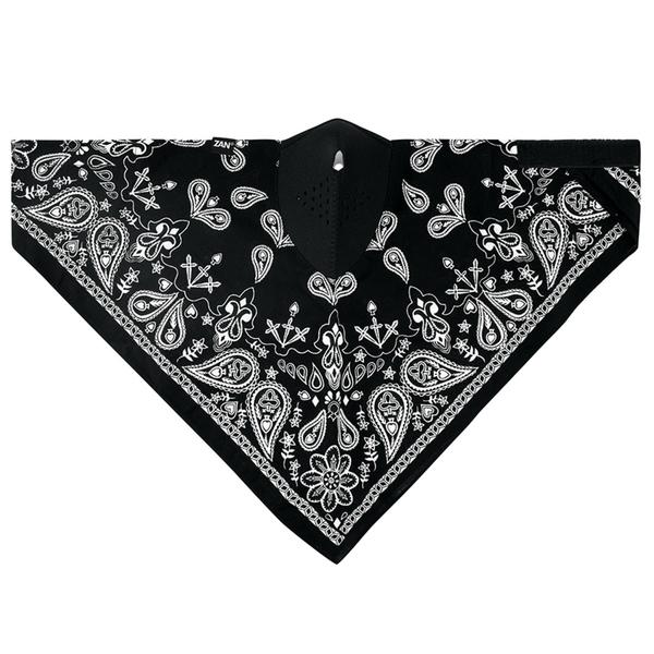 WNEO101 NEODANNA Mask- Cotton/Neoprene- Black Paisley | Half Facemasks