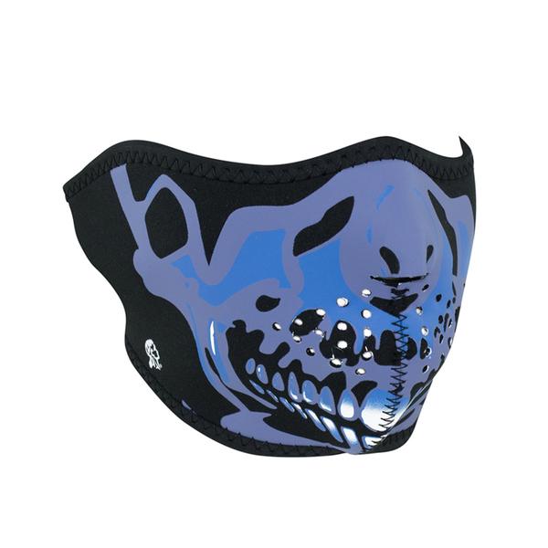 WNFM024H ZAN® Half Mask- Neoprene- Blue Chrome Skull | Half Facemasks