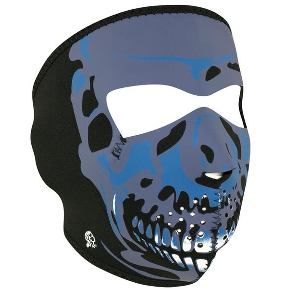 WNFM024 ZAN® Full Mask- Neoprene- Blue Chrome Skull | Full Facemasks