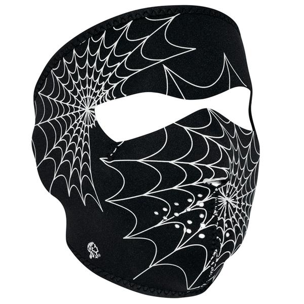 WNFM057G ZAN® Full Mask- Neoprene- Spider Web, Glow in the Dark | Full Facemasks