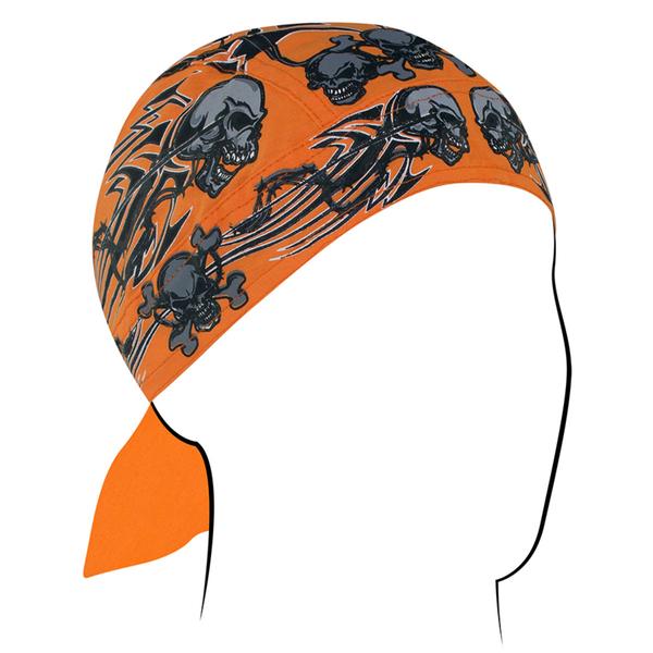 Z669 Flydanna®, Cotton, Orange Tribal Skull | Headwraps