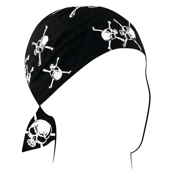 Z113C Flydanna®, Cotton, White Skull and Crossbones | Headwraps