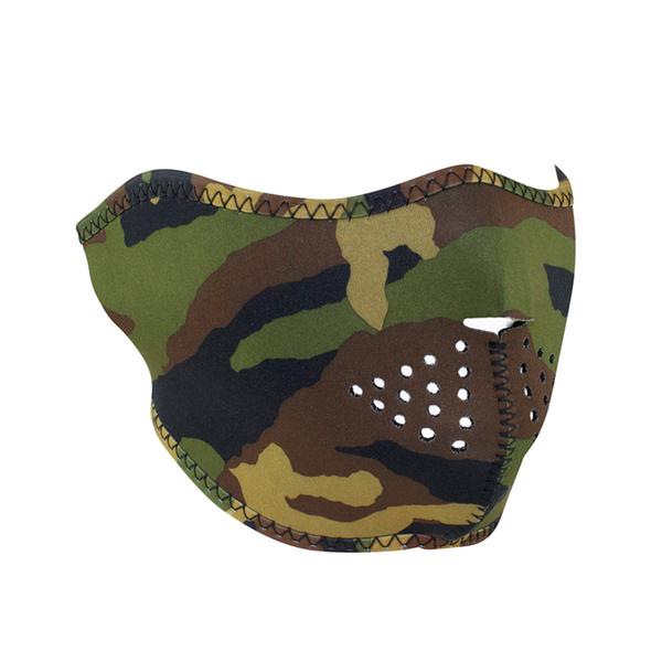 WNFM118H ZAN® Half Mask- Neoprene- Woodland Camo | Half Facemasks