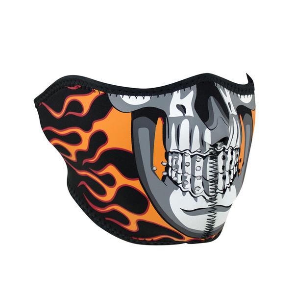 WNFM061H ZAN® Half Mask- Neoprene- Burning Skull | Half Facemasks