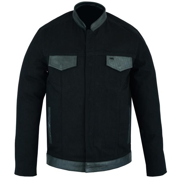 DM988 Men's Full Cut Denim Shirt W/Leather Trim | Men's Textile Jackets