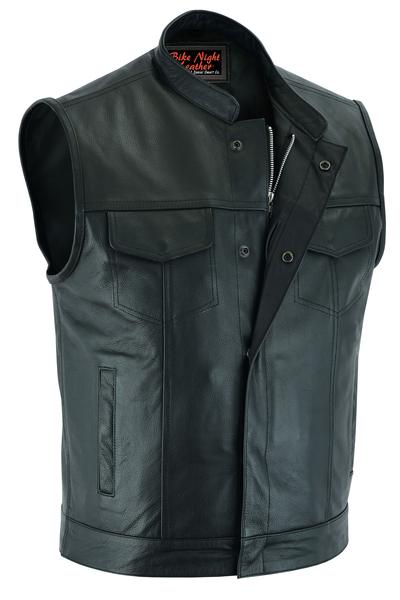 Men's Biker Vest | Concealed Snap Closure And Scoop Collar