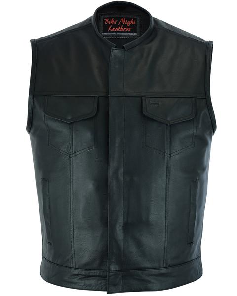 Men's Biker Vest   Concealed Snap Closure And No Collar